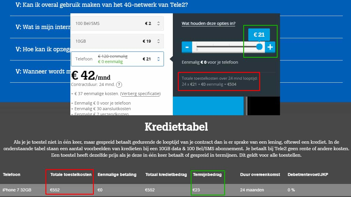 Krediet tabel Tele2 iPhone 7