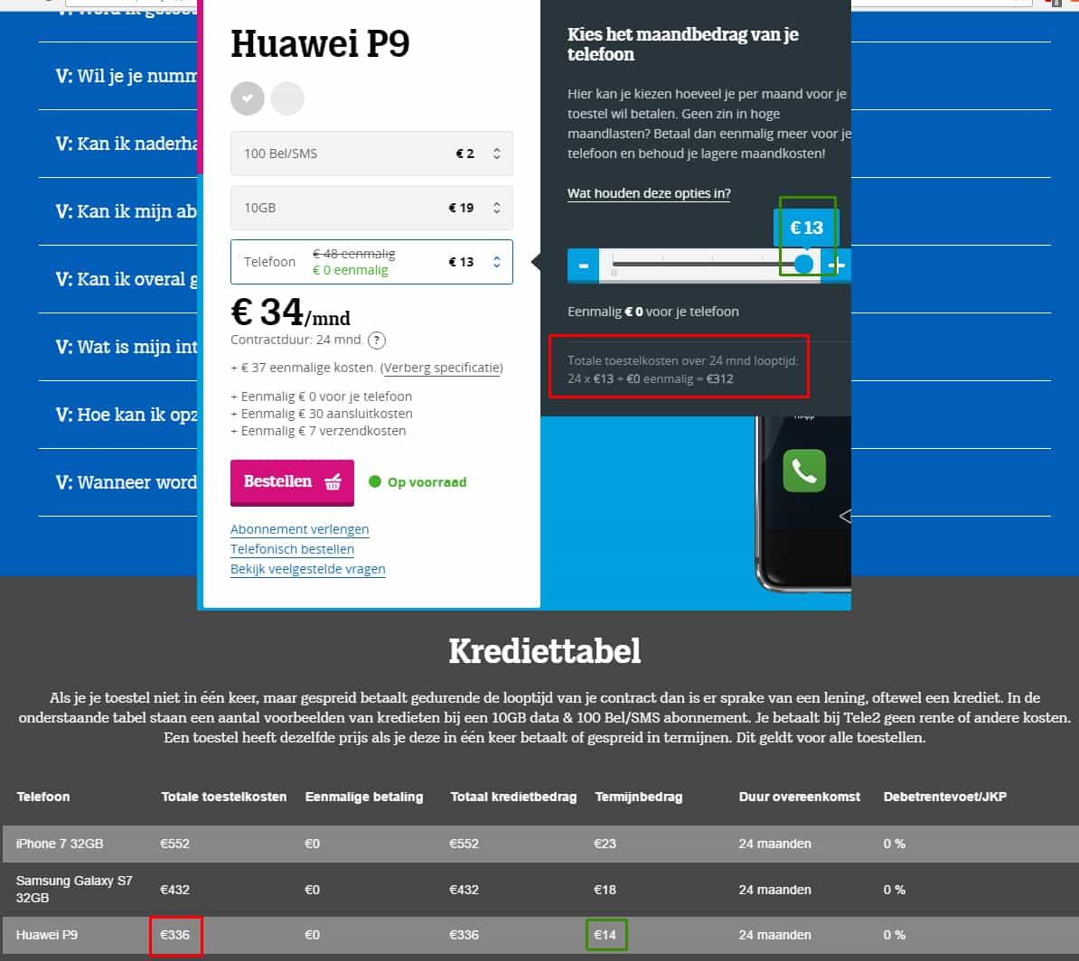Krediet tabel Tele2 Huawei P9