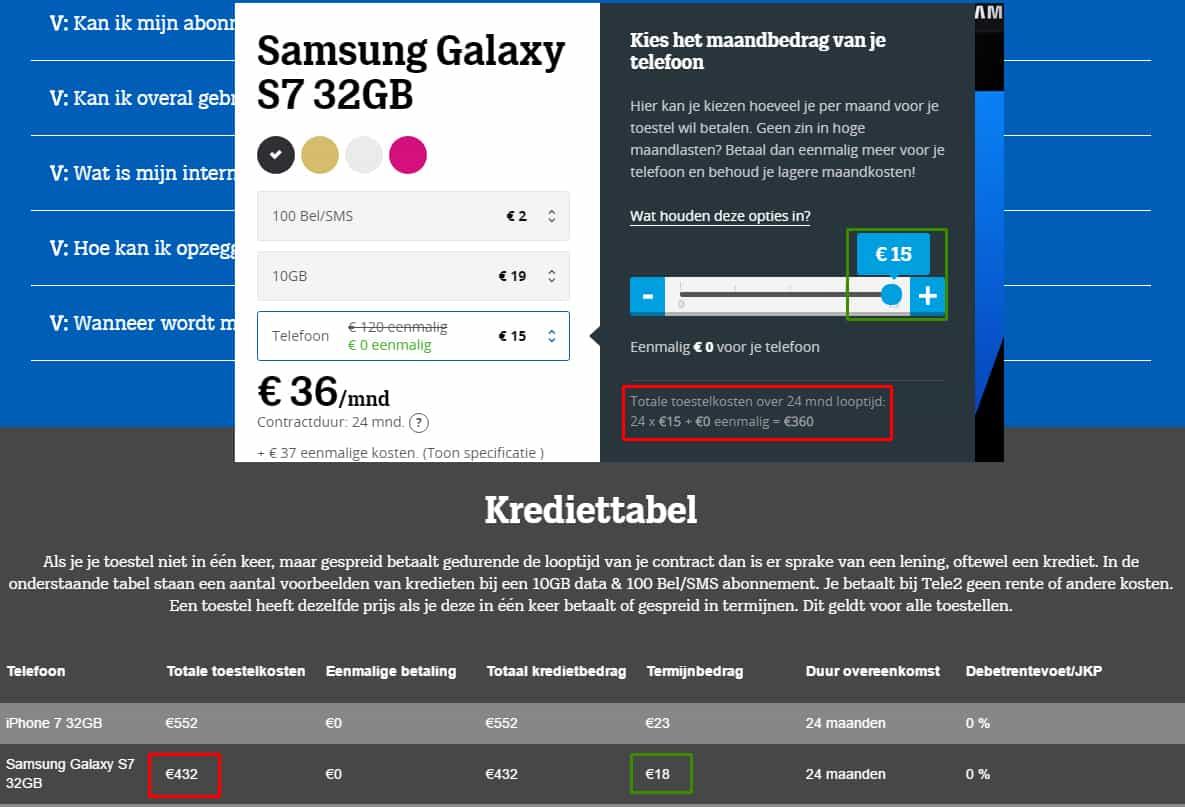 Krediet tabel Tele2 Samsung Galaxay S7